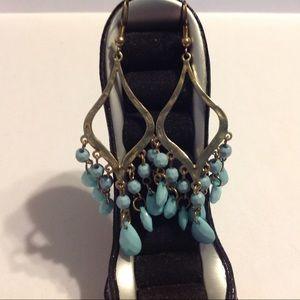 Gold Tone Light Blue Chandelier Style Earrings